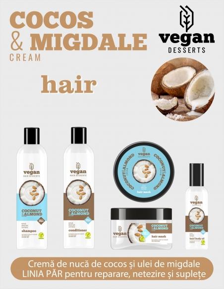 Gama 100% Vegana cu COCOS&CREMA DE MIGDALE pentru reparare intensivă, netezire și suplețe pentru păr